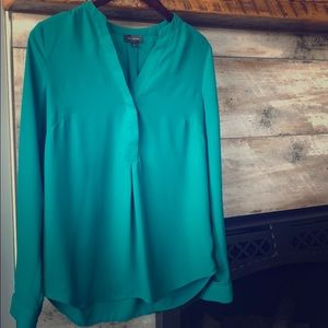 Long Sleeve V-Neck Blouse (Green)